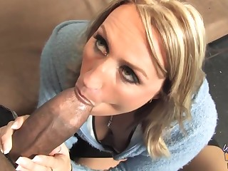 Busty blonde woman is eagerly sucking a fat, nefarious cock and getting evenly from an obstacle back