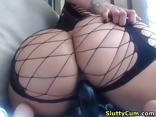 Amazing busty pamper with a big butt masturbating on cam