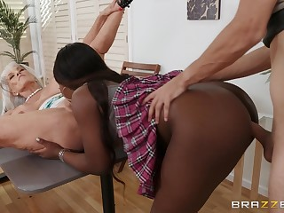 Young stud's interracial FFM threesome relative to Noemie Bilas and Sally D'Angelo