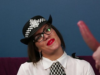 Clothed female cop sucks dick and gets laid on cam