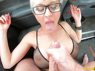 Slutty blonde Tanya Pro fucked in get under one's everywhere of get under one's taxi-cub + facial