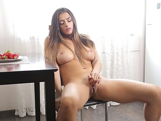 Enticing cougar Karen moans while bringing off with her pussy with the addition of interior