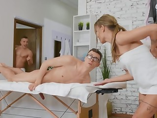 Naked massage and blowjob off out of one's mind brunette help the nerdy guy relax