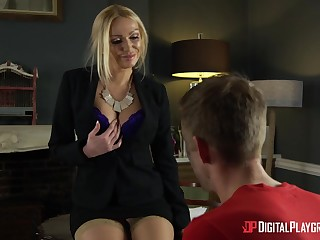British milf Amber Jayne beats and humiliates young janitor before hardcore quickie