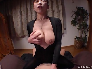 Busty office babe shows off in pure Japanese hardcore