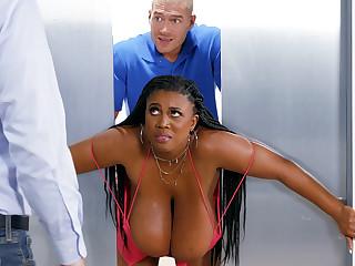 Stuck huge-chested ebony screwed stiff overwrought custodian