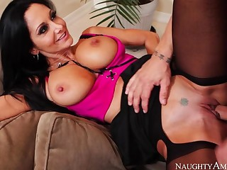 Cougar Ava Addams fucking in the couch with her outie pussy